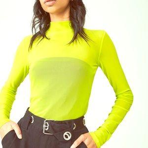 Neon Sheer Mesh Mock Neck Bodysuit